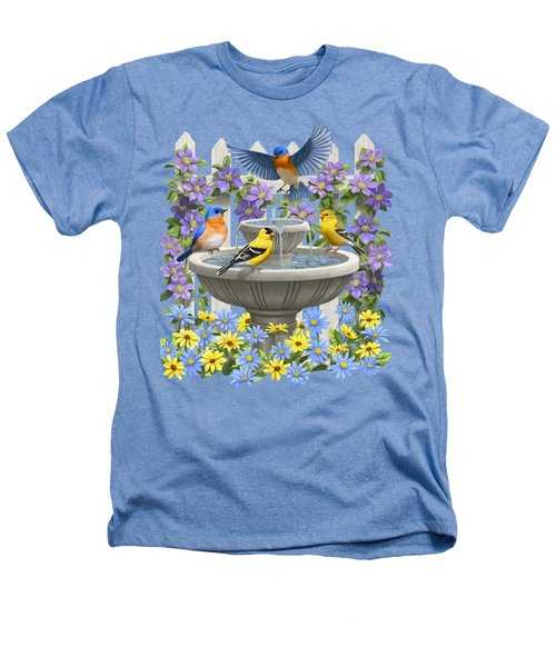 Fountain Festivities - Birds And Birdbath Painting Heathers T-Shirt by Crista Forest