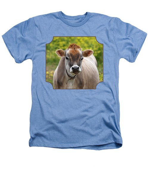 Funny Jersey Cow -square Heathers T-Shirt by Gill Billington