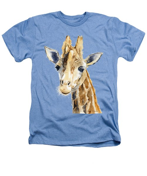 Giraffe Watercolor Heathers T-Shirt by Melly Terpening