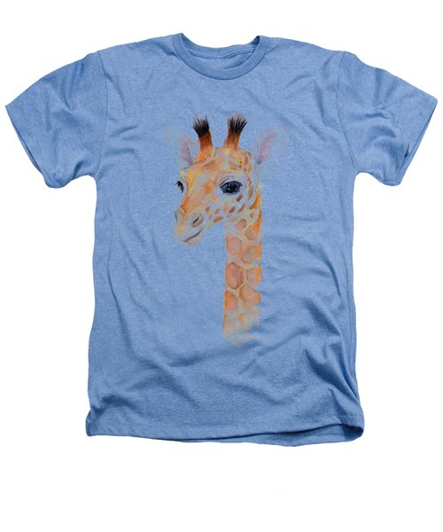 Giraffe Watercolor Heathers T-Shirt by Olga Shvartsur