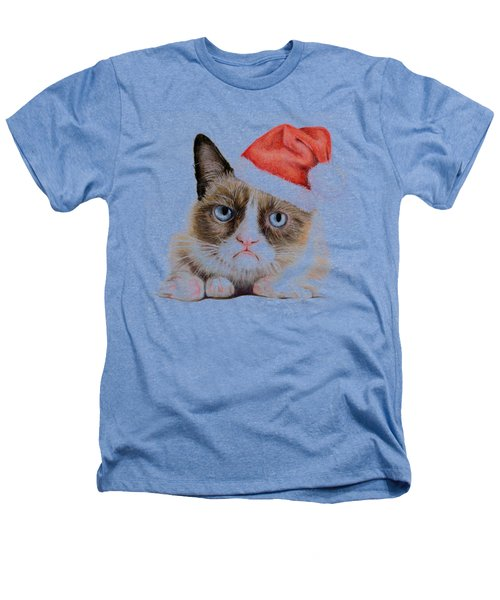 Grumpy Cat As Santa Heathers T-Shirt by Olga Shvartsur