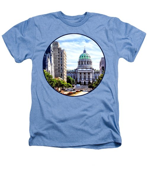 Harrisburg Pa - Capitol Building Seen From State Street Heathers T-Shirt by Susan Savad