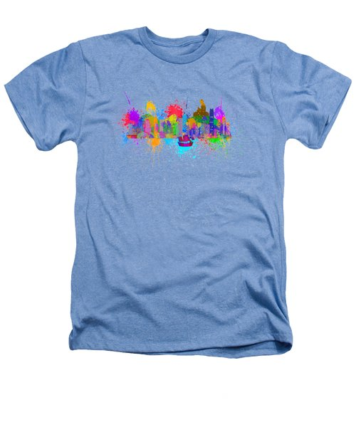 Hong Kong Skyline Paint Splatter Illustration Heathers T-Shirt by Jit Lim