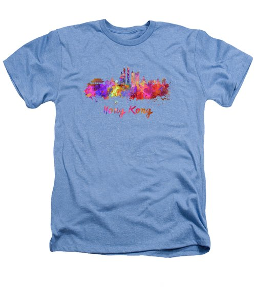 Hong Kong V2 Skyline In Watercolor Heathers T-Shirt by Pablo Romero