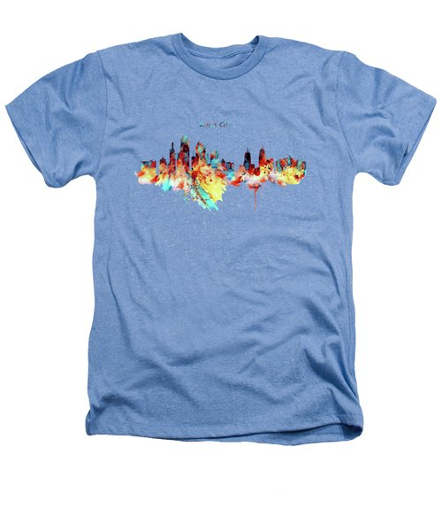 Kansas City Skyline Silhouette Heathers T-Shirt by Marian Voicu