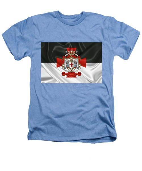 Knights Templar - Coat Of Arms Over Flag Heathers T-Shirt by Serge Averbukh