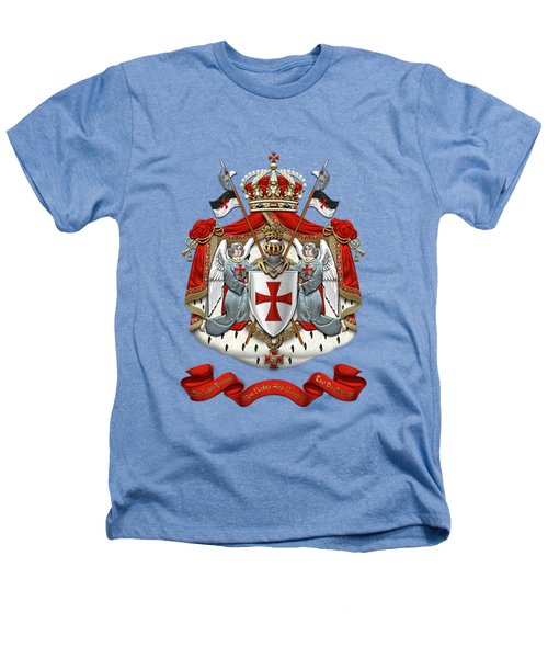 Knights Templar - Coat Of Arms Over White Leather Heathers T-Shirt by Serge Averbukh