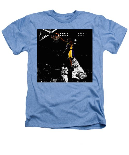 Kobe Bryant On Top Of Dwight Howard Heathers T-Shirt by Brian Reaves