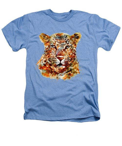 Leopard Head Watercolor Heathers T-Shirt by Marian Voicu
