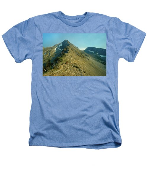 Llama Packer Hiking A Steep Rocky Mountain Peak Trail Heathers T-Shirt by Jerry Voss
