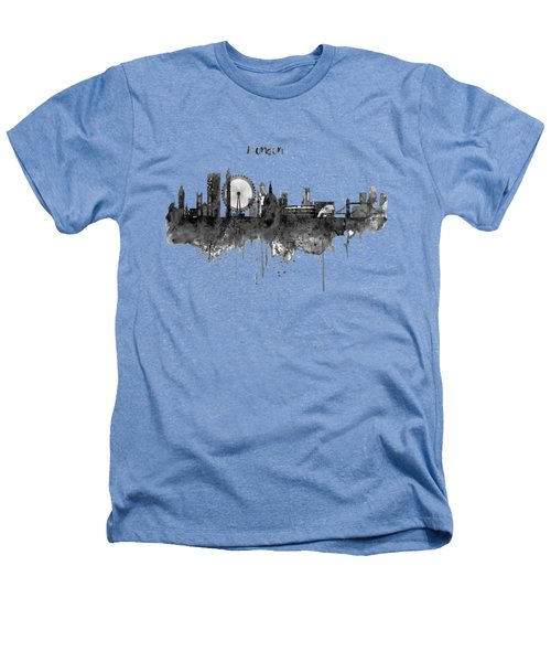 London Black And White Skyline Watercolor Heathers T-Shirt by Marian Voicu