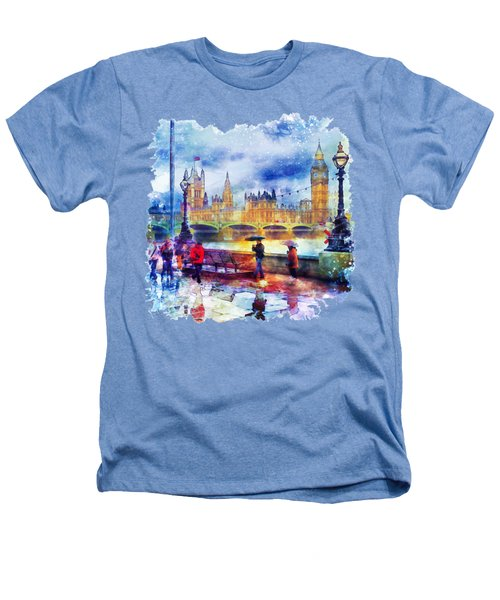 London Rain Watercolor Heathers T-Shirt by Marian Voicu