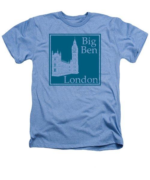 London's Big Ben In Blue Lagoon Heathers T-Shirt by Custom Home Fashions