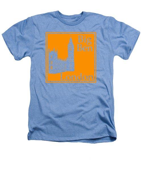 London's Big Ben In Tangerine Heathers T-Shirt by Custom Home Fashions