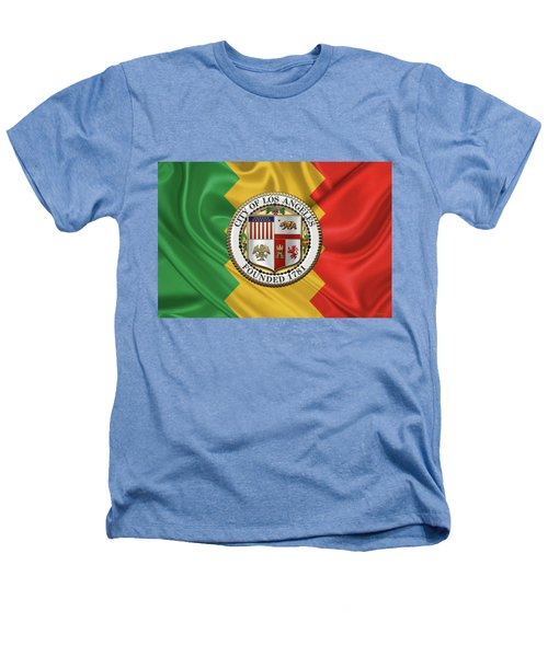 Los Angeles City Seal Over Flag Of L.a. Heathers T-Shirt by Serge Averbukh