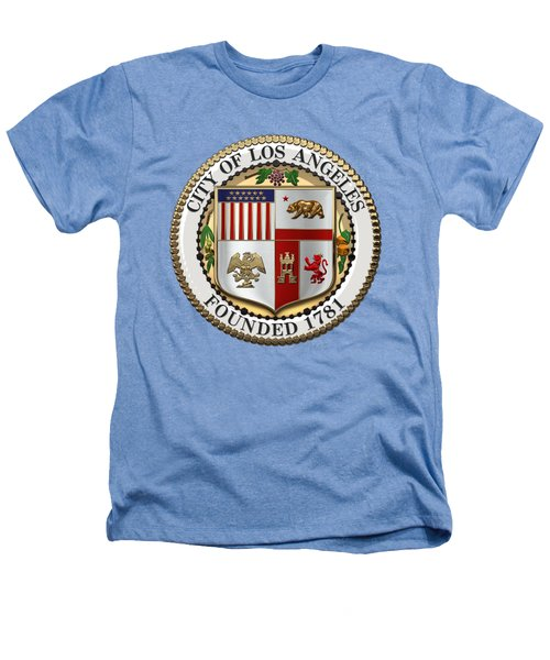Los Angeles City Seal Over White Leather Heathers T-Shirt by Serge Averbukh