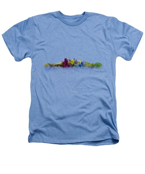 Los Angeles City Skyline Hq V3 Heathers T-Shirt by HQ Photo