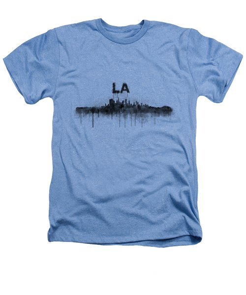 Los Angeles City Skyline Hq V5 Bw Heathers T-Shirt by HQ Photo
