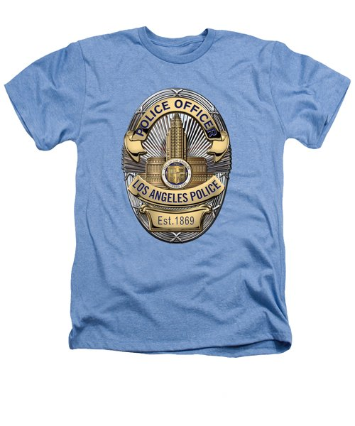 Los Angeles Police Department  -  L A P D  Police Officer Badge Over White Leather Heathers T-Shirt by Serge Averbukh