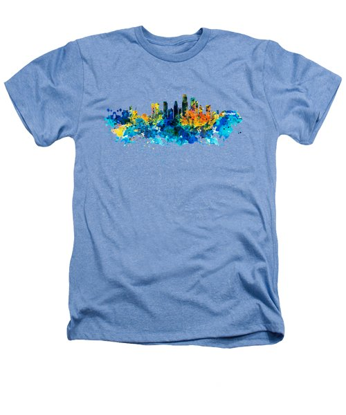 Los Angeles Skyline Heathers T-Shirt by Marian Voicu