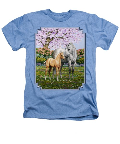 Mare And Foal Pillow Blue Heathers T-Shirt by Crista Forest