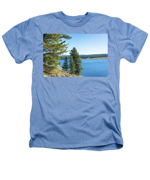 Meadowlark Lake And Trees Heathers T-Shirt by Jess Kraft