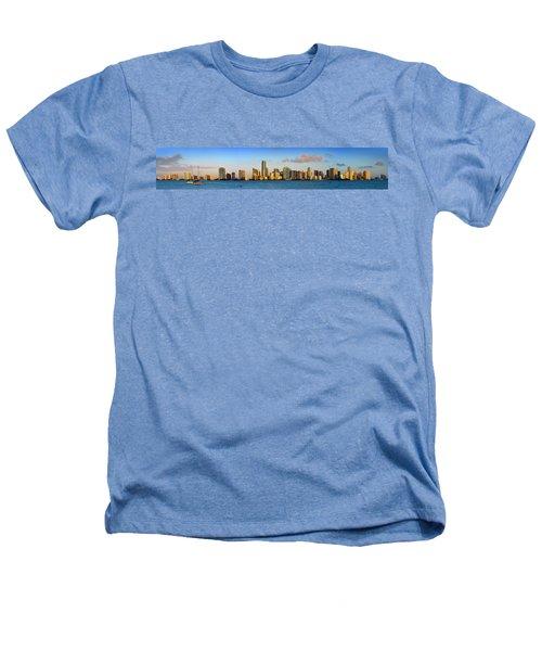 Miami Skyline In Morning Daytime Panorama Heathers T-Shirt by Jon Holiday