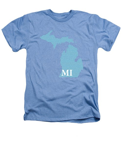 Michigan State Map With Text Of Constitution Heathers T-Shirt by Design Turnpike