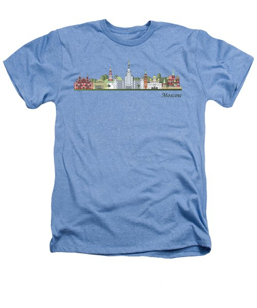 Moscow Skyline Colored Heathers T-Shirt by Pablo Romero