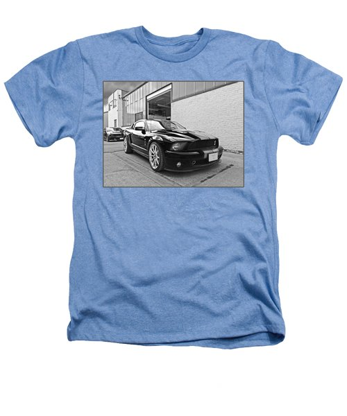Mustang Alley In Black And White Heathers T-Shirt by Gill Billington