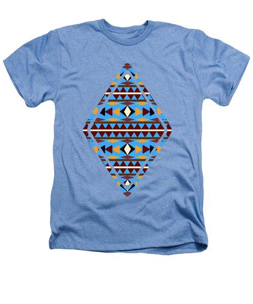 Navajo Blue Pattern Art Heathers T-Shirt by Christina Rollo