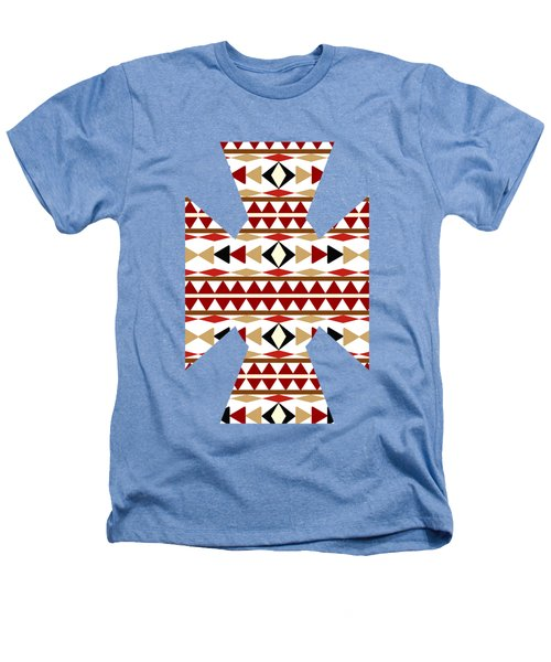 Navajo White Pattern Art Heathers T-Shirt by Christina Rollo
