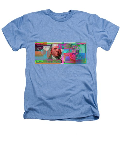 New 2009 Series Pop Art Colorized Us One Hundred Dollar Bill  V.3.2 Heathers T-Shirt by Serge Averbukh