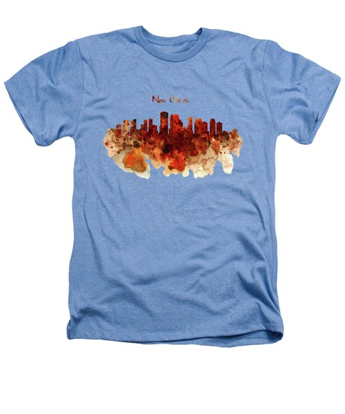 New Orleans Watercolor Skyline Heathers T-Shirt by Marian Voicu