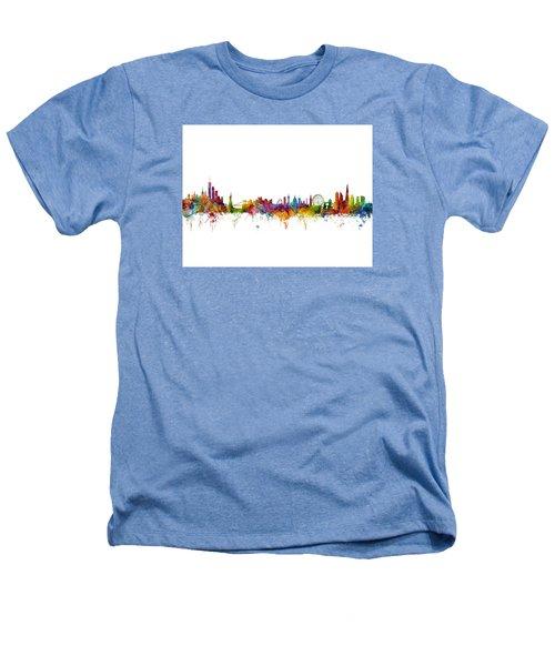 New York And London Skyline Mashup Heathers T-Shirt by Michael Tompsett