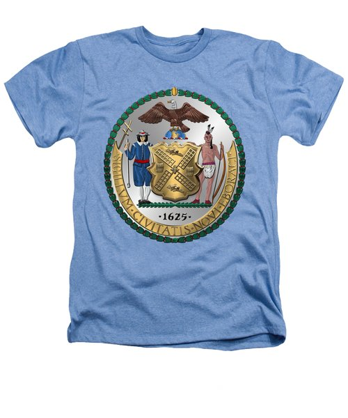 New York City Coat Of Arms - City Of New York Seal Over White Leather  Heathers T-Shirt by Serge Averbukh