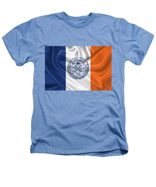 New York City - Nyc Flag Heathers T-Shirt by Serge Averbukh
