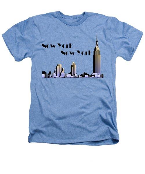 New York New York Skyline Retro 1930s Style Heathers T-Shirt by Heidi De Leeuw