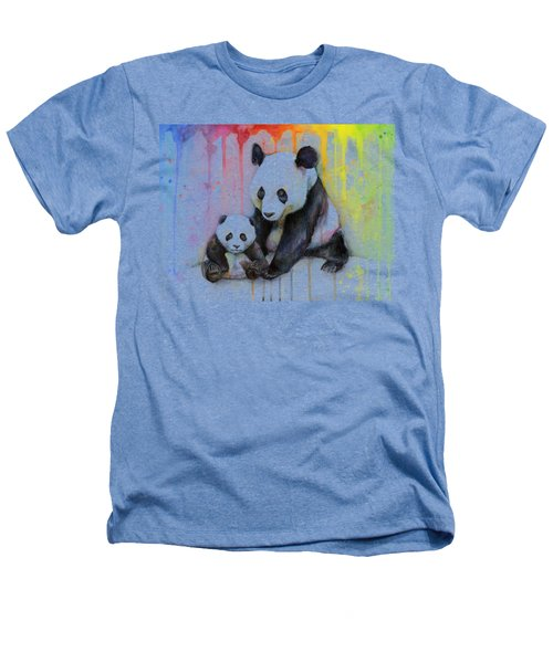 Panda Watercolor Mom And Baby Heathers T-Shirt by Olga Shvartsur