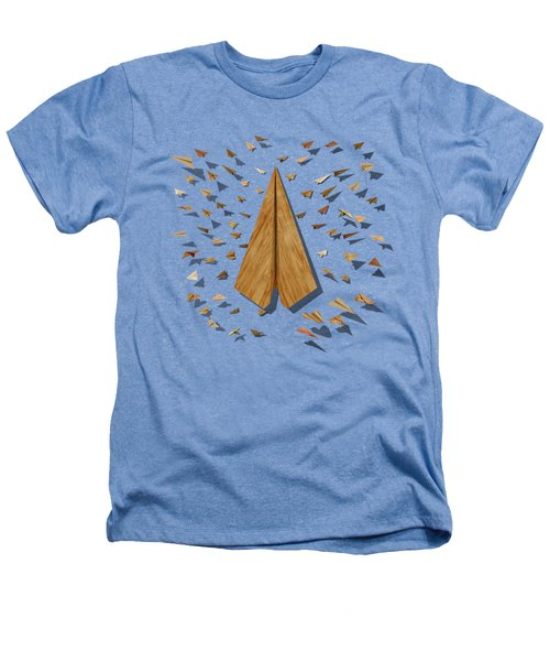 Paper Airplanes Of Wood 10 Heathers T-Shirt by YoPedro