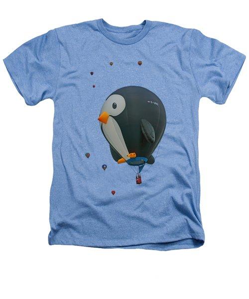Penguin - Hot Air Balloon - Transparent Heathers T-Shirt by Nikolyn McDonald