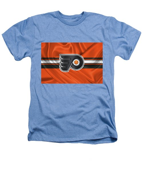 Philadelphia Flyers - 3 D Badge Over Silk Flag Heathers T-Shirt by Serge Averbukh