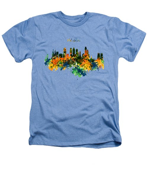 Philadelphia Watercolor Skyline Heathers T-Shirt by Marian Voicu