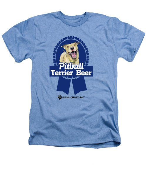 Pit Bull Terrier Beer Heathers T-Shirt by John LaFree