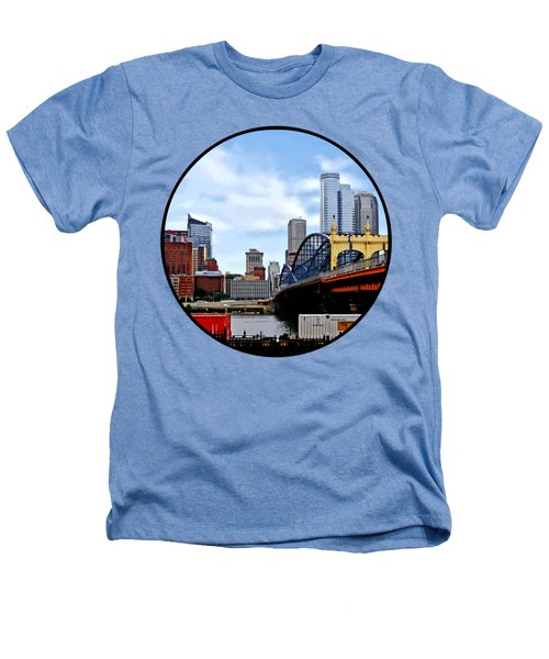 Pittsburgh Pa - Train By Smithfield St Bridge Heathers T-Shirt by Susan Savad