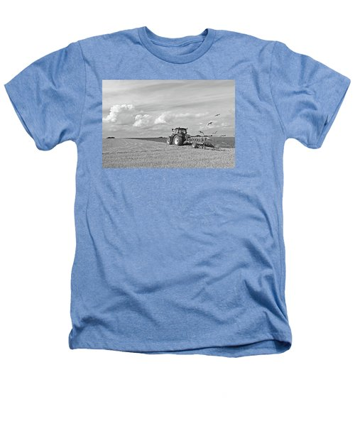 Ploughing After The Harvest In Black And White Heathers T-Shirt by Gill Billington