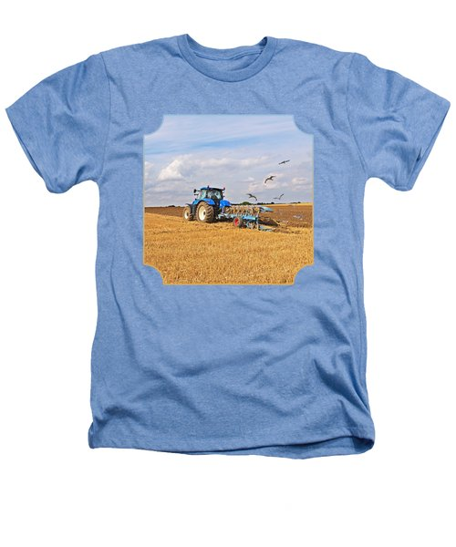 Ploughing After The Harvest - Square Heathers T-Shirt by Gill Billington