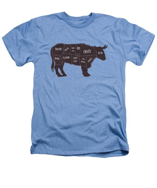 Primitive Butcher Shop Beef Cuts Chart T-shirt Heathers T-Shirt by Edward Fielding