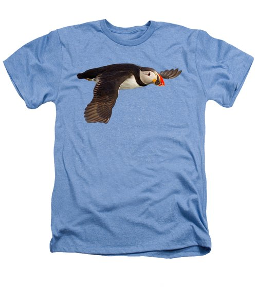 Puffin In Flight T-shirt Heathers T-Shirt by Tony Mills