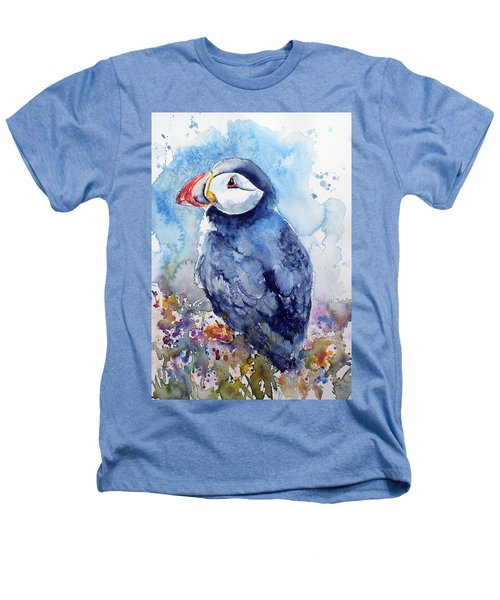 Puffin With Flowers Heathers T-Shirt by Kovacs Anna Brigitta